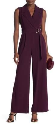 Calvin Klein Notch Collar Sleeveless Belted Jumpsuit