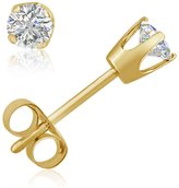Amanda Rose Collection AGS Certified 1/4ct tw Round Diamond Stud earrings in 14K Yellow Gold