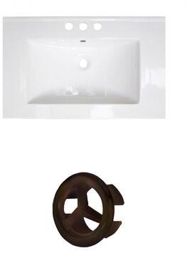 "Alcott Hill Latshaw Ceramic 24"" Single Bathroom Vanity Top Faucet Mount: 4"" Centers, Overflow Cap Color: Oil Rubbed Bronze"