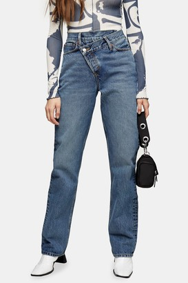 Topshop Womens Mid Blue Wrap Over Dad Jeans - Mid Stone