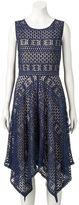 Ronni Nicole Women's Lace Handkerchief Hem Dress