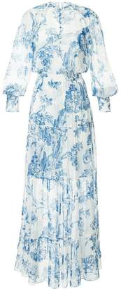 Oscar de la Renta floral toile pintuck tiered dress