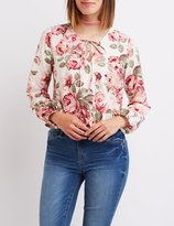 Charlotte Russe Floral Tie-Front Wrap Top