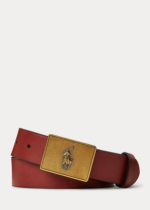 Ralph Lauren PRL Leather-Trim Cotton Belt