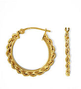 Lord & Taylor 14K Gold Small Braided Hoop Earrings