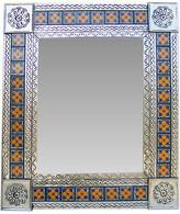 Fine Crafts & Imports Medium Silver Flower Tile Talavera Tin Mirror