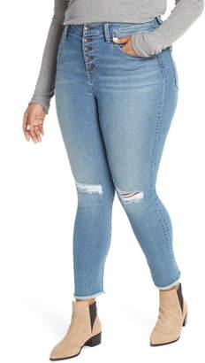 Max Studio MAXSTUDIO Indigo Perfect Vintage High Waist Fray Hem Ankle Skinny Jeans