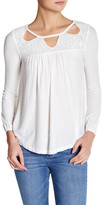 Jessica Simpson Fifi Embroidered Yoke Peasant Blouse