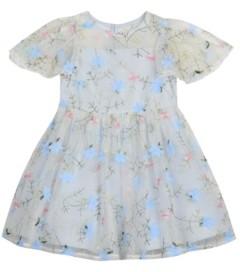 Laura Ashley Little Girls Embroidered Mesh Dress