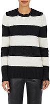 VIS A VIS Women's Striped Crewneck Sweater-BLACK