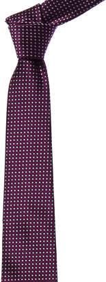 Canali Purple & White Square Dot Silk Tie