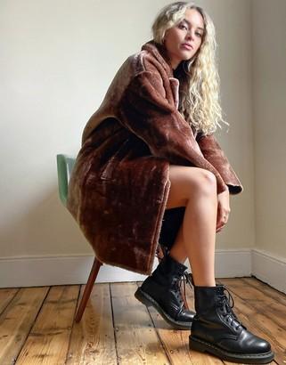 ASOS DESIGN bonded plush overcoat in brown