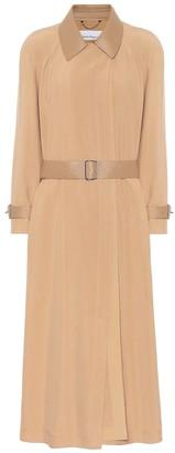 Salvatore Ferragamo Leather-trimmed silk trench coat