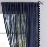 Pottery Barn Teen Side Pom Sheer Curtain, 108&quot, Navy