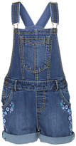 Fat Face Girls' Embroidered Denim Dungaree Shorts, Blue