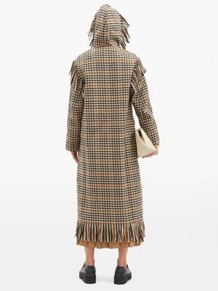 Sara Lanzi Fringed Checked Wool-blend Hooded Coat - Black Cream