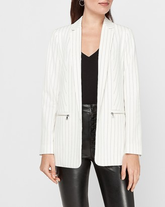 Express Striped Zip Pocket Blazer