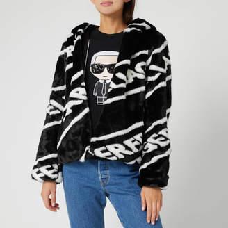 Karl Lagerfeld Paris Women's Faux Fur Jacket with Logo