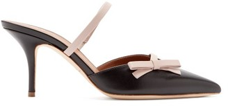 Malone Souliers Jenna Bow-strap Leather Mules - Womens - Black Nude