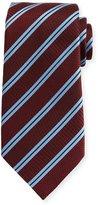 Ermenegildo Zegna Satin-Stripe Herringbone Tie, Wine