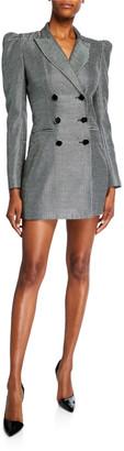 Jill Stuart Blake Check Double-Breasted Puff-Sleeve Jacket Dress