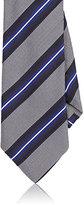 Barneys New York Men's Striped Silk Necktie-GREY