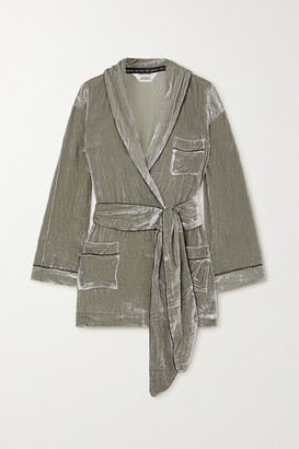 SLEEPING WITH JACQUES The Bon Vivant Belted Piped Velvet Robe - Green
