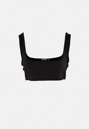 Missguided Petite Black Co Ord Rib Scoop Neck Bralette