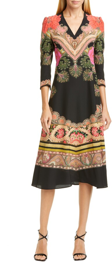 Etro Print Silk Fit & Flare Midi Dress