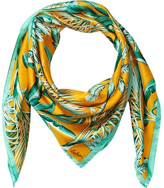 Echo New York Wild Palm Silk Square (Black) Scarves