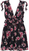 MSGM Ruffled Floral-print Silk-chiffon Mini Dress - Black