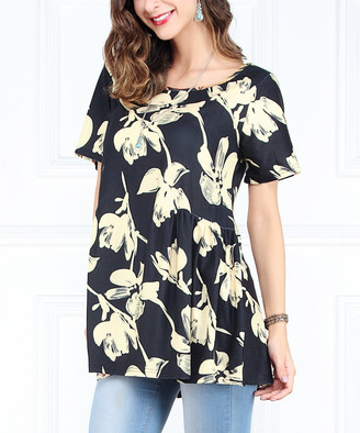 Reborn Collection Women's Tunics Black - Black & Yellow Floral Cinched Side Detail Tunic - Women & Plus