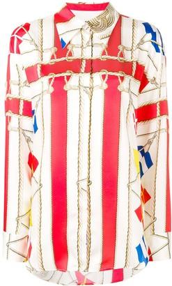 MSGM flag print longline shirt