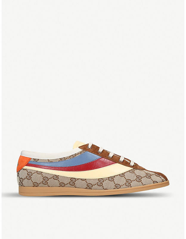 Gucci Logo-print leather-trimmed canvas trainers