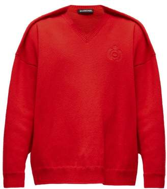 Balenciaga Embroidered Crest Logo Sweater - Mens - Red