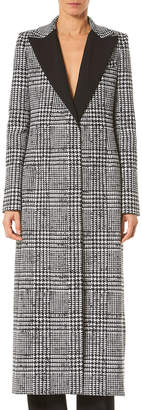 Carolina Herrera Wingtip-Lapel Prince-Of-Wale Silk-Wool Coat