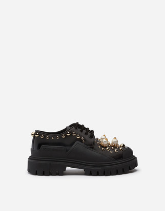 Dolce & Gabbana Polished Calfskin Trekking Derby With Pearled And Studded Embroidery