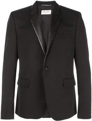 Saint Laurent leather-lapel blazer