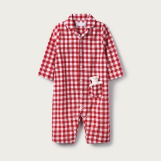 The White Company Gingham Sleepsuit with Toy, Red, 18-24mths