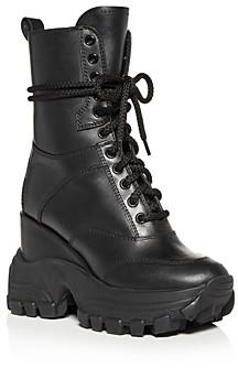 Miu Miu Women's Hidden Wedge Platform Combat Boots