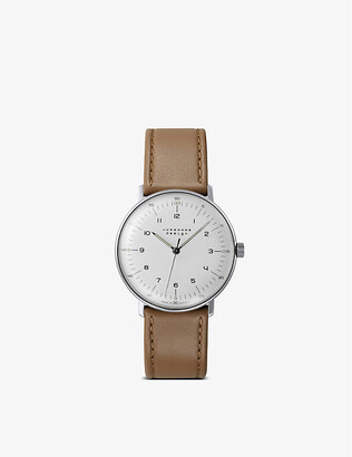 Junghans 027/3701.00 max bill stainless steel and leather watch