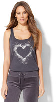 New York & Co. Silver Sequin Heart Tank Top