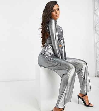 4th + Reckless Petite flare trouser in silver metallic