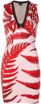 Just Cavalli leaf-print fitted dress