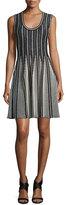 M Missoni Striped Sleeveless Fit-&-Flare Dress, Black/White