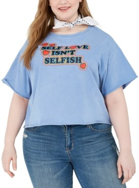 Modern Lux Trendy Plus Size Cotton Self Love Graphic Cropped T-Shirt