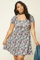 Forever 21 FOREVER 21+ Plus Size Floral Print Skater Dress