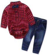 XUNYU 0-2T Baby Boys Children Autumn Plaid T Shirt Jeans Clothes Sets Outwear