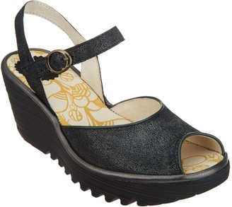 Fly London Leather Peep-Toe Wedges - Yora