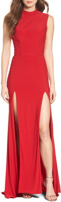 Mac Duggal Ieena For Jersey Double Slit Gown